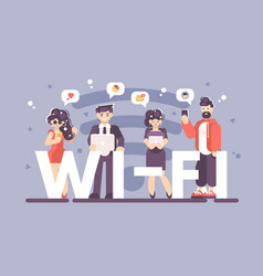 people using internet on modern gadgets poster vector image