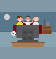 people watching football on tv vector image