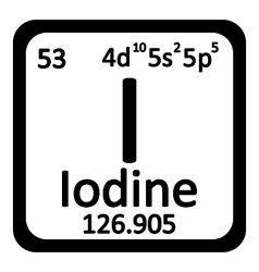Periodic table element iodine icon vector image