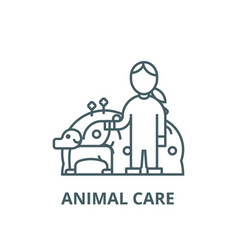 pets caredog with womananimal care line vector image