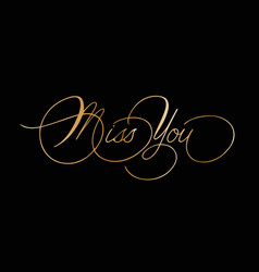 Phrase miss you cursive font with swirls vector