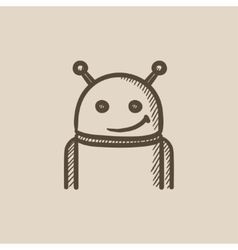 Robot sketch icon vector