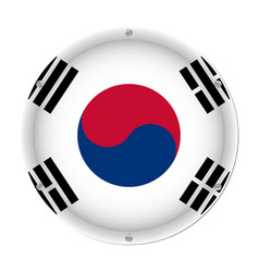 round metallic flag of south korea with screws vector image