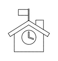 school building exterior clock flag facade vector image