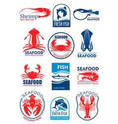 Seafood icons for restaurant menu vector