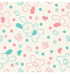 Seamless background with toys and hearts vector image