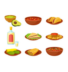 Set images mexican dishes vector