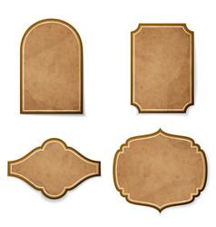 set leather realistic vintage labels vector image