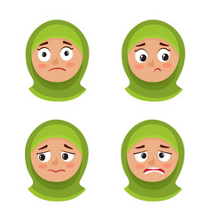 set of arab girl with hijab upset face expression vector image