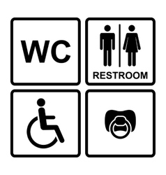 Set of black wc icons on white background in frame vector image vector image