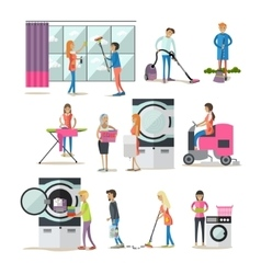 Set of cleaning people characters isolated vector