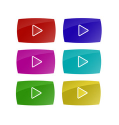 set of colorful play buttons vector image
