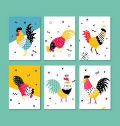 Set roosters in a pop art style vector