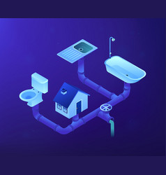 Sewerage system concept isometric vector