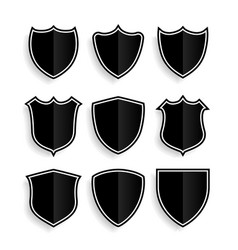 shield symbols or badges set nine vector image