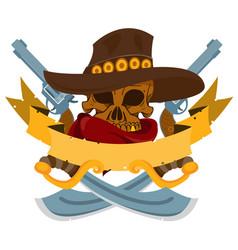 Skull in a hat cowboy banner wild west theme vector