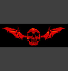 skull with bat wings on black background vector image