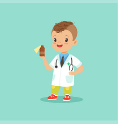 Smiling little kid in doctor s uniform and vector
