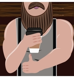Sporty handsome man with a beard loves and drink vector image