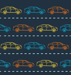 striped seamless pattern with cars vector image