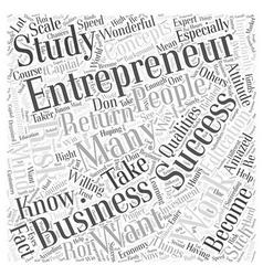 Successful entrepreneur word cloud concept vector
