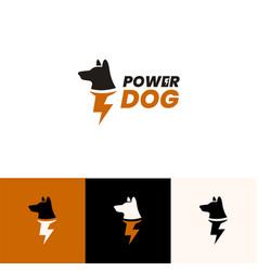 Super power dog logo design concept vector