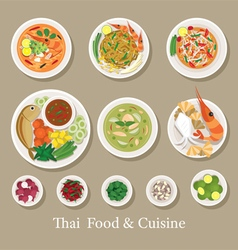 Thai Food and Ingredients Set vector