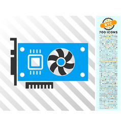 Video accelerator card flat icon with bonus vector