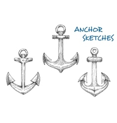 Vintage sketched sea anchors set vector image