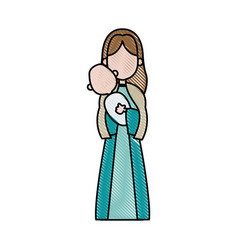 Virgin mary holding baby jesus catholicism saint vector