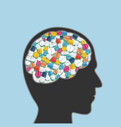 Vitamins pills in human head vector