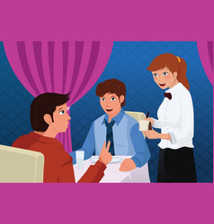 waiter in a restaurant serving customers vector image