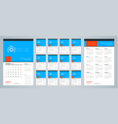 Wall calendar template for 2020 year week starts vector