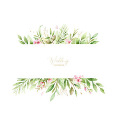 watercolor banner pink flowers and vector image