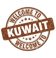 Welcome to kuwait brown round vintage stamp vector
