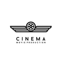 wings and film reel for movie production logo vector image