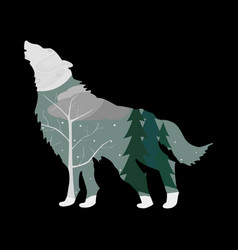 Winter forest in the outline of a wolf vector