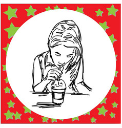 Woman drink iced coffee vector