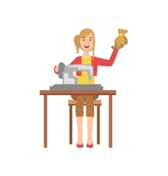 Woman Making Handmade Toys Creative Person vector