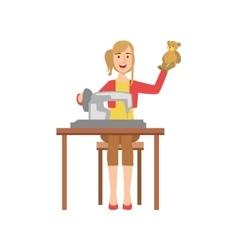 Woman making handmade toys creative person vector