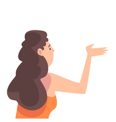 young brunette woman gesturing view from behind vector image
