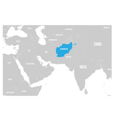 afghanistan blue marked in political map of south vector image vector image