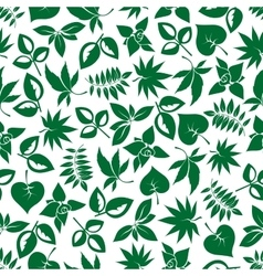 Dark green leaves retro seamless pattern vector image