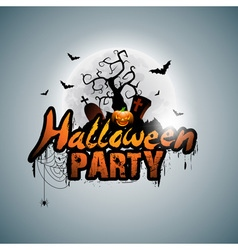 Halloween Party Design with pumpkin and moon vector image vector image