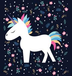 magic beautiful cartoon the unicorn vector image vector image