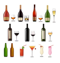 super group of drinks set vector image vector image