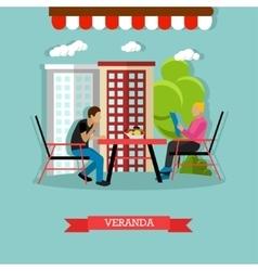 Veranda design element with people sitting vector