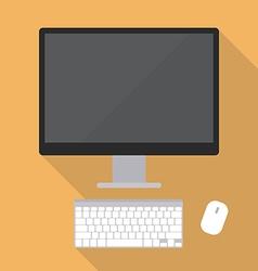Desktop computer flat style vector