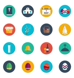 Easter Flat Design Round Icon Set vector image vector image