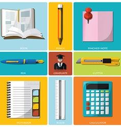 Education And Graduation Tools Flat Icon Set vector image